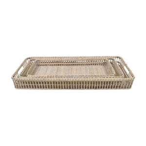 White Washed Rattan Rectangle Tray 80cm - Large Homewares nz
