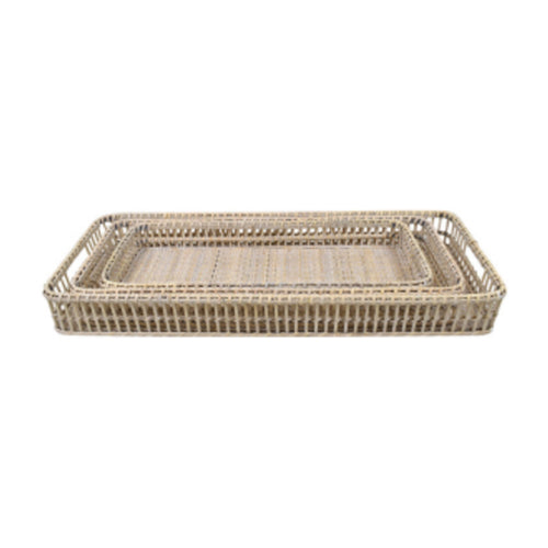 White Washed Rattan Rectangle Tray 60cm - Small