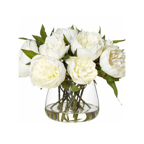 Vintage White Peonies In Glass Bowl - White