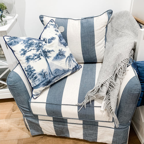 Cape Cod Armchair In Blue & Off-White Stripe (With Slip Cover)  Furniture nz