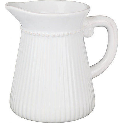 Dotted & Ribbed Jug - White  Homewares nz