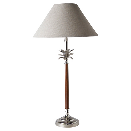 Nickel & Wood Palm Lamp With Natural Linen Shade