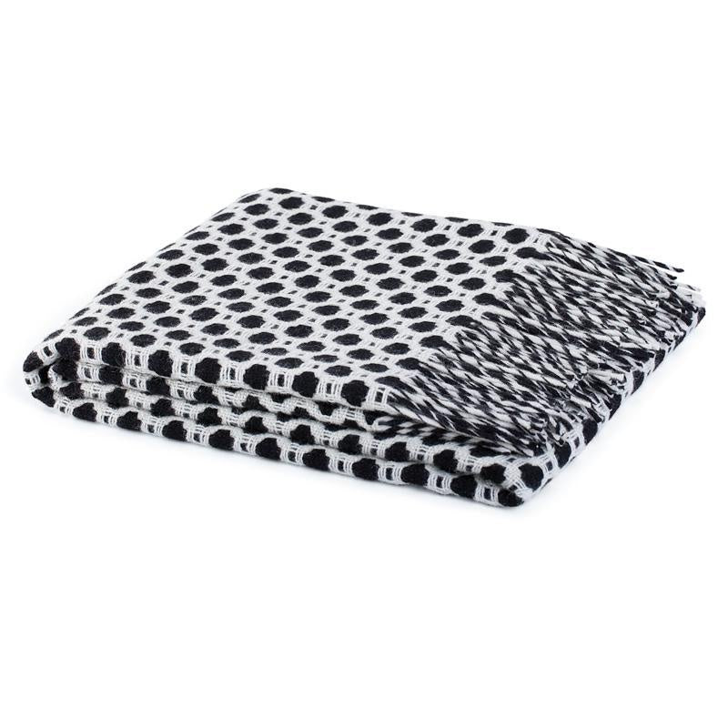 Linga Wool Throw - Black & White  Homewares nz