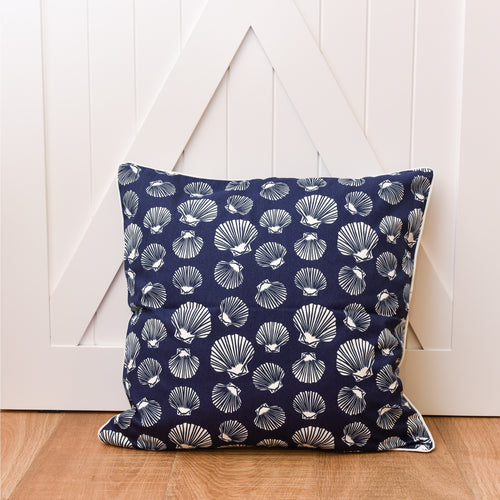 Shell Euro Cushion 60x60cm - Navy & White  Homewares nz