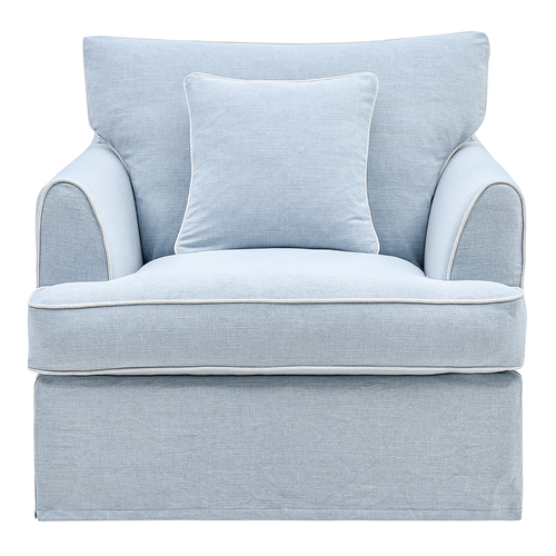 Palm Beach Armchair In Pale Blue With White Piping Furniture nz