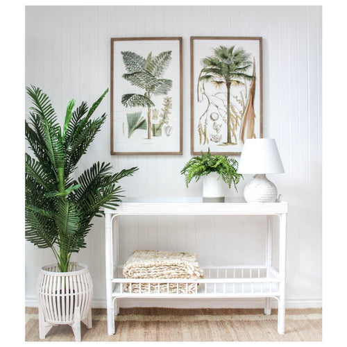 Panama Bamboo Hall Console Table - White