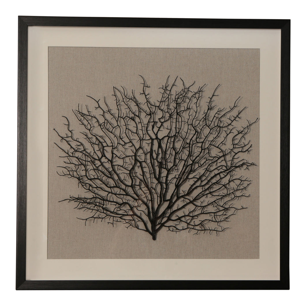 Black Coral Framed Wall Art 60cm  Homewares nz