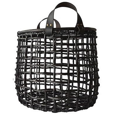 Black Open Weave Basket With Leather Handles - Large  Homewares nz