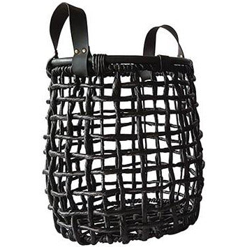Black Open Weave Basket With Leather Handles - Medium  Homewares nz