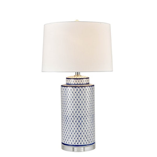 Blue Scaled Ceramic Lamp With White Shade homewares nz