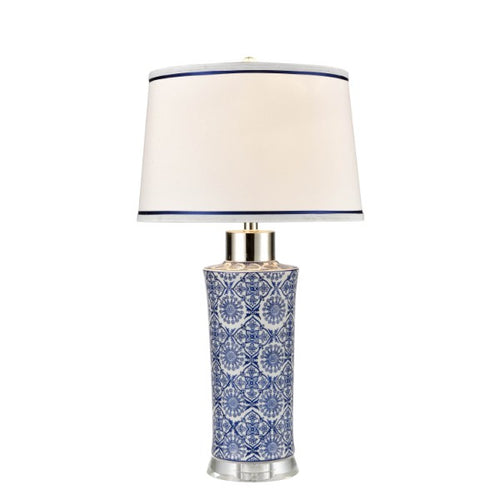 Blue & White Ceramic Lamp With White Shade & Navy Trim  Homewares nz