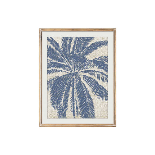 Blue Palm Tree Woven Print In Timber Frame 30x40cm  Homewares nz