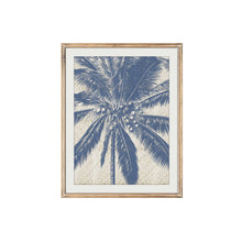 Load image into Gallery viewer, Blue Palm Tree Woven Print In Timber Frame 30x40cm  Homewares nz
