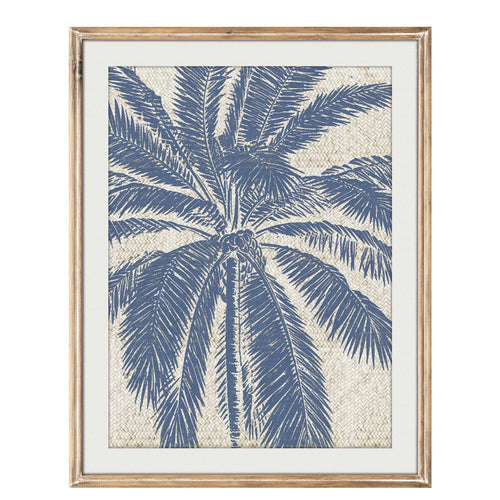 Blue Palm Tree Woven Print In Timber Frame 55x77cm  Homewares nz