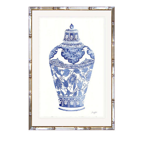 Blue & White Ginger Jar Print In Faux Bamboo Timber Frame