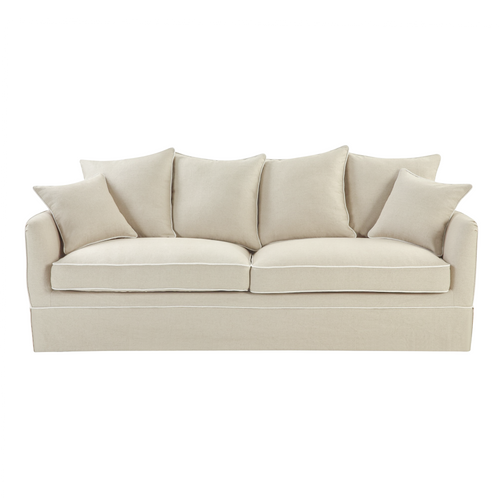 Cape Cod 3 Seater Sofa In Natural With White Piping (With Slip Cover)