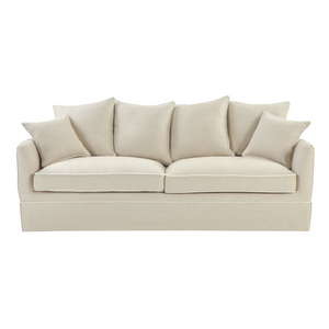 Cape Cod 3 Seater Sofa In Natural With White Piping (With Slip Cover) Furniture nz
