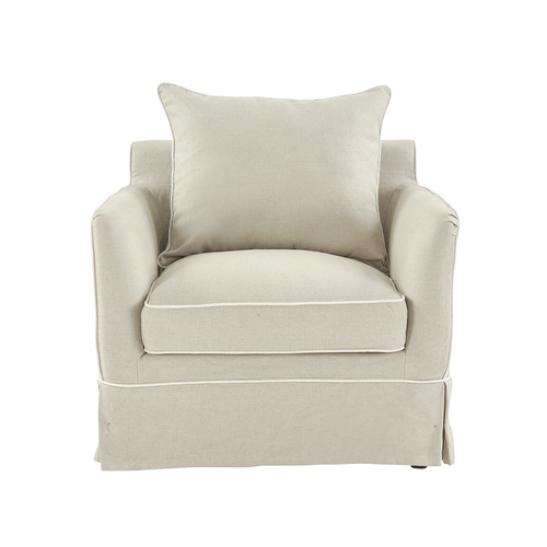 Cape Cod Armchair In Natural With White Piping (With Slip Cover)