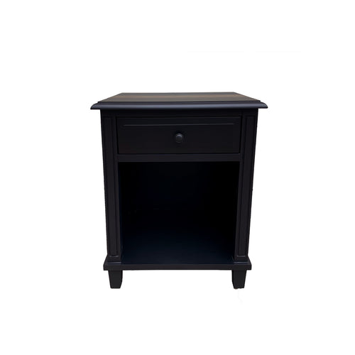 Cape Cod 1 Drawer Bedside Table 55cm - Black Furniture nz