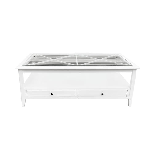 Cape Cod Glass Top Rectangle Coffee Table - White  Furniture nz