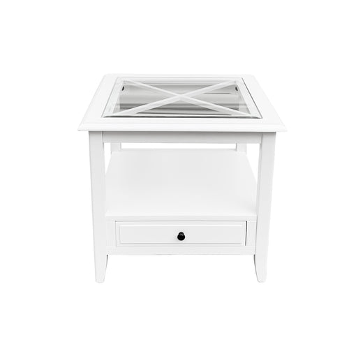 Cape Cod Glass Top Side Table White furniture nz
