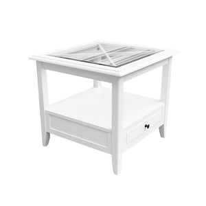 Cape Cod Glass Top Side Table - White  Furniture nz
