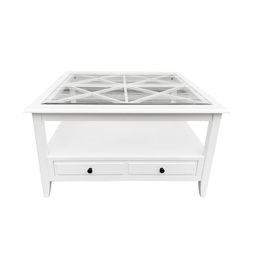 Cape Cod Glass Top Square Coffee Table White furniture nz