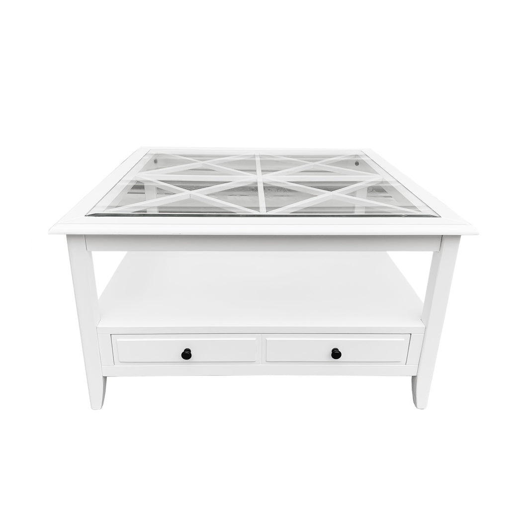 Cape Cod Glass Top Square Coffee Table - White Furniture nz