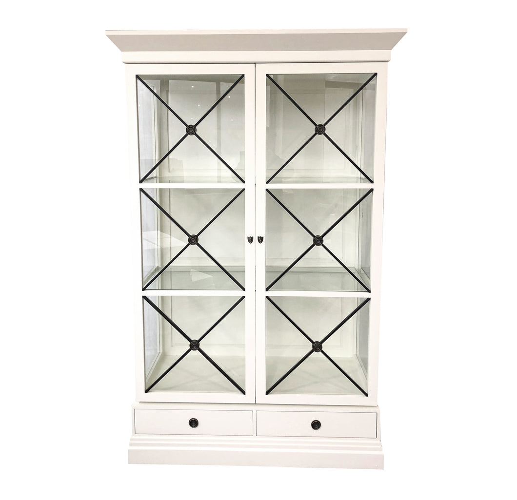 Chateau Display Cabinet - Off White & Black  Furniture nz
