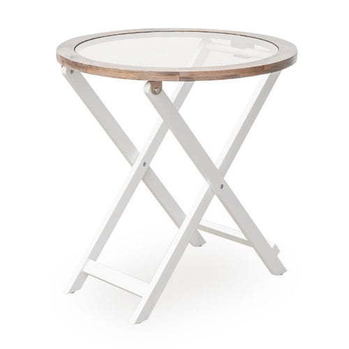 Havana Glass Top Criss Cross Round Side Table - White  Furniture nz