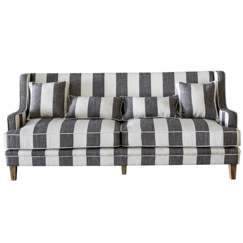 Hamptons 3 Seater Sofa In Grey & Off-White Stripe (Fitted)  Furniture nz