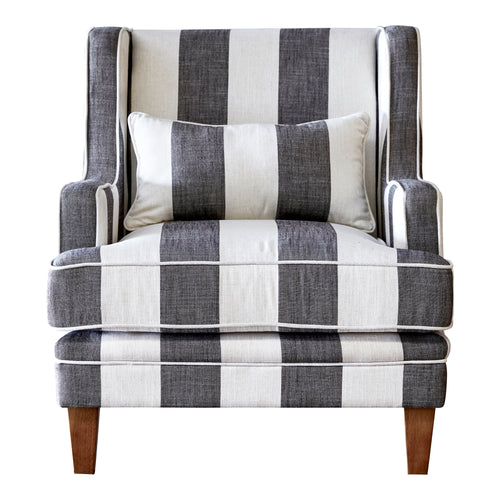 Hamptons Armchair In Grey & Off-White Stripe furniture nz