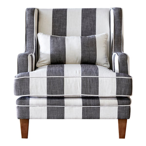 Hamptons Armchair In Grey & Off-White Stripe (Fitted)  Furniture nz