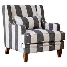 Load image into Gallery viewer, Hamptons Armchair In Grey & Off-White Stripe (Fitted)  Furniture nz