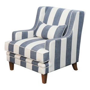 Hamptons Armchair In Blue & Off-White Stripe (Fitted) Furniture nz