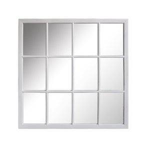 Hamptons Large Square 12 Paned Mirror - White Homewares nz