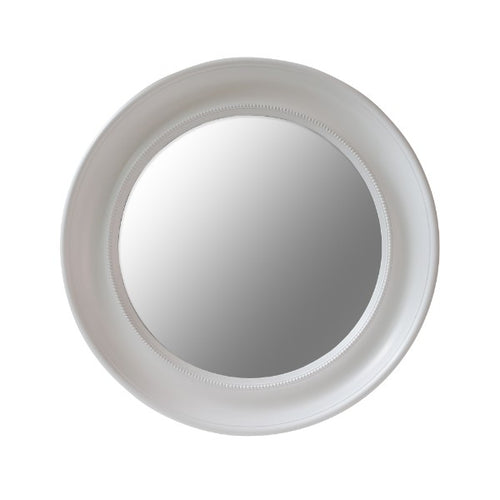 Hamptons Round Beaded Mirror - White  Homewares nz