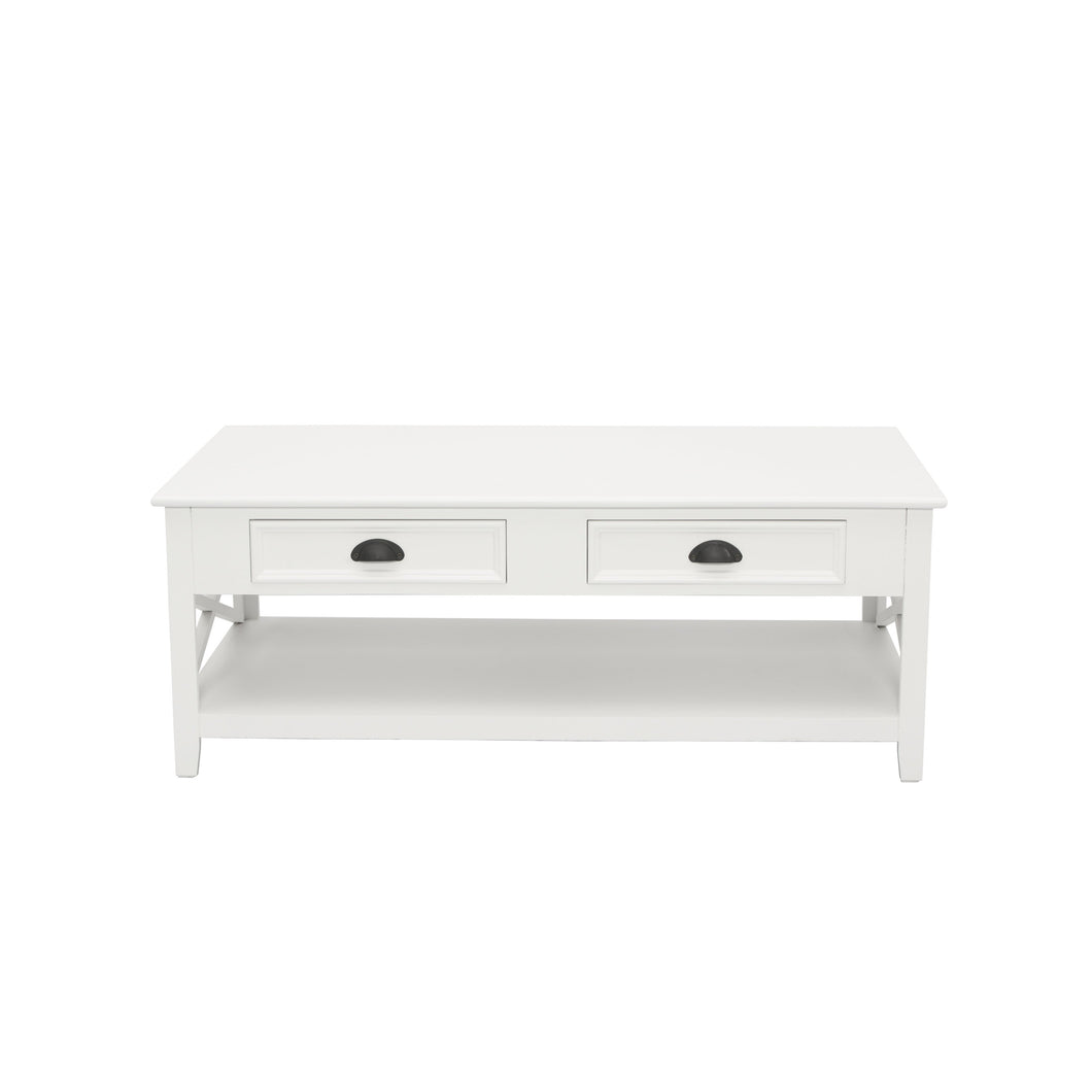 Hamptons 2 Drawer Coffee Table - White  Furniture nz