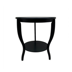 Hamptons Round Curved Leg Side Table - Black  Furniture nz