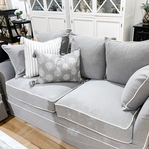 Cape Cod 2 Seater Sofa In Grey With White Piping (With Slip Cover)  Furniture nz