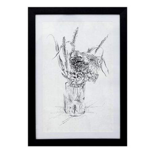 Floral Sketch In Black Frame  Homewares nz