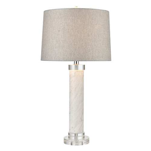 White Marble Table Lamp With Grey Linen Shade  Homewares nz