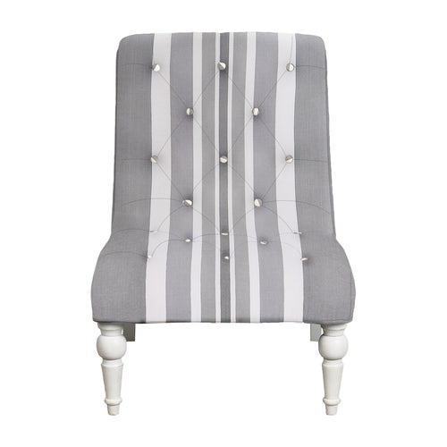 Provincial Leopold Occasional Chair - Grey Stripe With White Legs Furniture nz