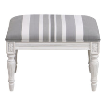 Load image into Gallery viewer, Provincial Pouffe Footstool - Grey Stripe With White Legs Furniture nz