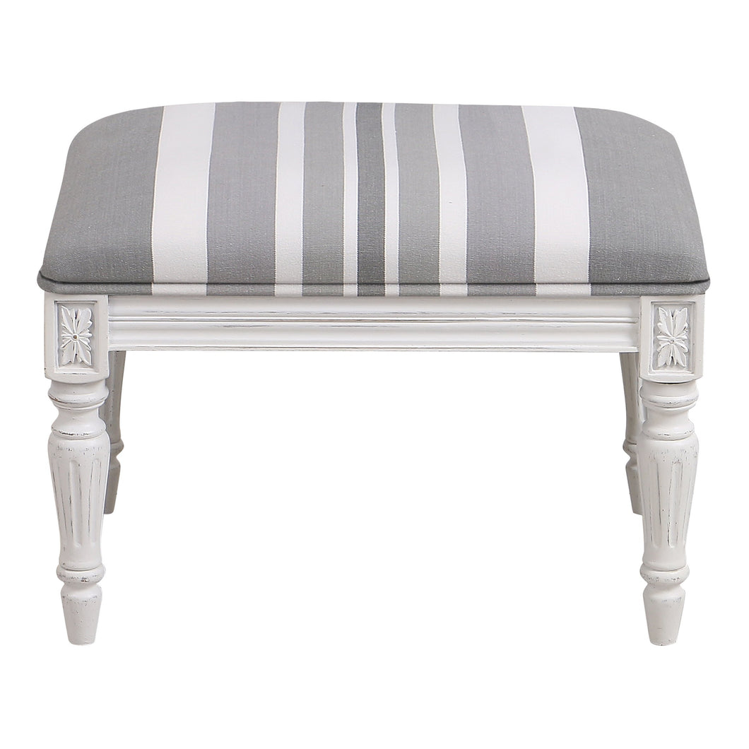 Provincial Pouffe Footstool - Grey Stripe With White Legs Furniture nz