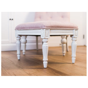 Provincial Pouffe Footstool - Rose With White Legs  Furniture nz