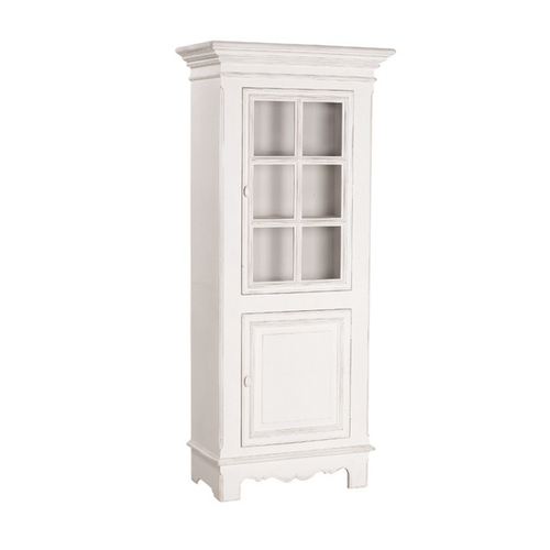 Provincial Single Glass Door Display Cabinet - White