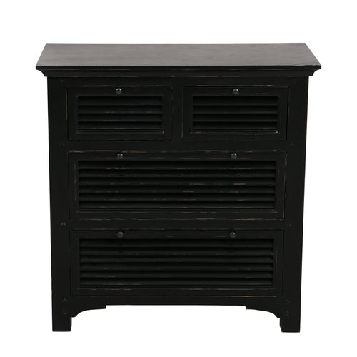 Riviera 4 Drawer Chest - Black  Furniture nz