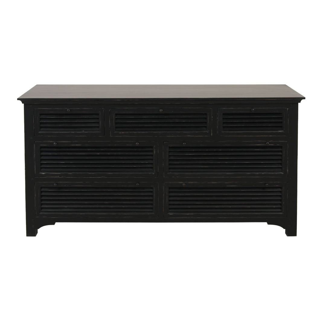 Riviera 7 Drawer Chest - Black  Furniture nz