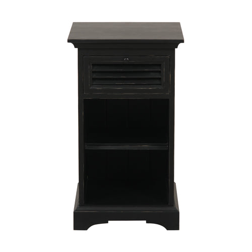 Riviera 1 Drawer Bedside Table - Black Furniture nz